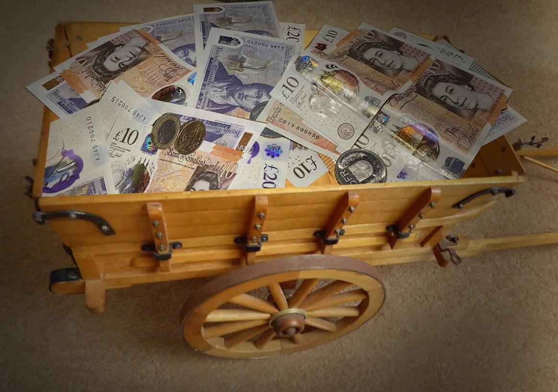 Farm cart with cash
