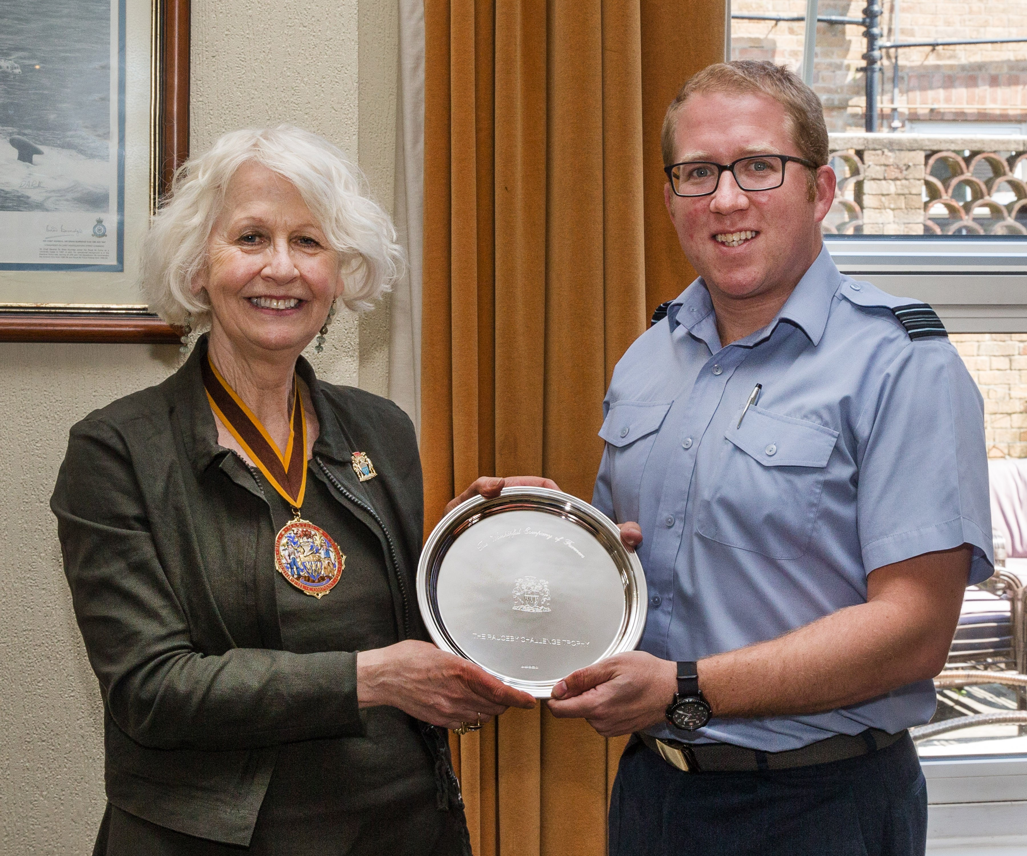 Rosie Carne presents Salver to Sqn Leader Alan (Stubsy) Stubbs 2019