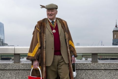Past Master Tony Alston collects for the Red Cross