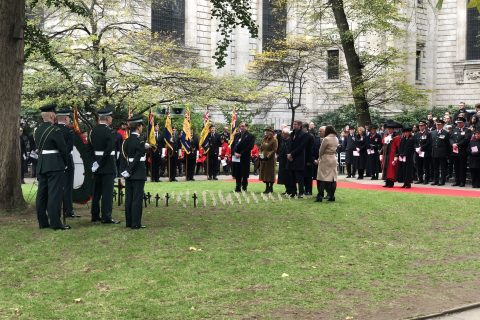 The Master places a cross in the Garden of Remembrance at St Paul's Cathedral