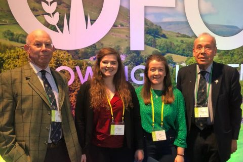 The Master and Liveryman Christopher Day welcome the two WCF/NFYFC scholars to the 2020 Oxford Farming Conference