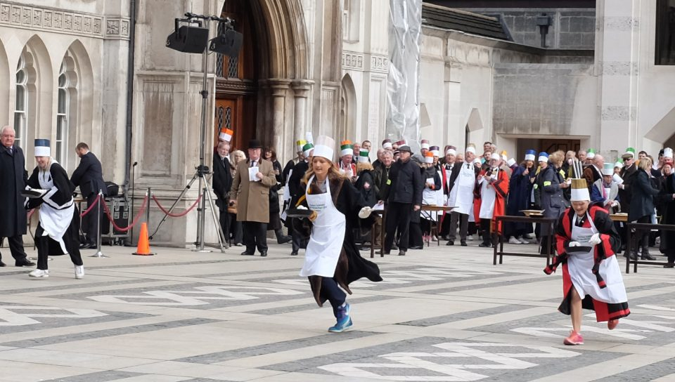 Verity Harvey at 2017 pancake race